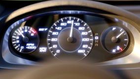 Szybkościomierza szybkiego samochodu samochodu prędkości deska rozdzielcza przyśpiesza 4k 3D renderingu animacja zbiory