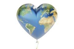 Szybko się zwiększać w formie serc z mapą ziemia, 3D rendering Obrazy Royalty Free