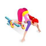 Szybkobiegacza biegacza atleta przy Zaczyna linii atletyka rasy początku lata gier ikony setem Olimpiad 3D Płaski Isometric sport Zdjęcia Royalty Free