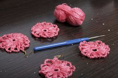 Szydełkowa biżuteria dla kobiet Kolczyki dziający przedsiębiorcą Nici dla dziać, sztabek, i kończący - produkty Zdjęcia Royalty Free