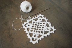 Szydełkuje próbkę dla tablecloth lub pieluchy Obraz Stock