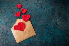 Szydełkowi valentine serca Obrazy Stock