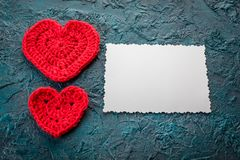 Szydełkowi valentine serca Obraz Royalty Free