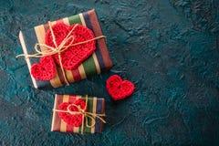 Szydełkowi valentine serca Zdjęcie Royalty Free