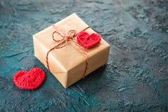 Szydełkowi valentine serca Zdjęcia Royalty Free