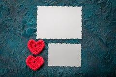 Szydełkowi valentine serca Zdjęcie Stock