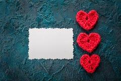 Szydełkowi valentine serca Obraz Stock