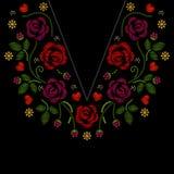 Szyi kreskowa broderia z różami kwitnie wektorową ilustrację zdjęcia stock