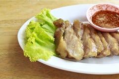 Szyja wieprzowina podpalający tajlandzki jedzenie Fotografia Royalty Free