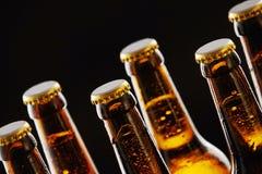 Szyje uszczelnione piwne butelki z kondensacją Fotografia Stock