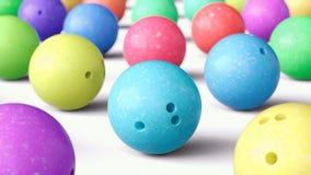 Szyk Kolorowe kręgle piłki, W połowie strzał ilustracja wektor