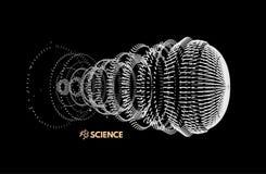 Szyk Z Dynamicznymi cząsteczkami 3D technologii styl abstrakcyjny tło Zdjęcia Royalty Free
