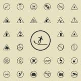 szyldowa śliska drogowa ikona Znak ostrzegawczy ikon ogólnoludzki ustawiający dla sieci i wiszącej ozdoby ilustracja wektor