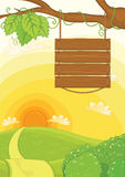 Szyldowa deska z ładną tło ilustracją Fotografia Stock