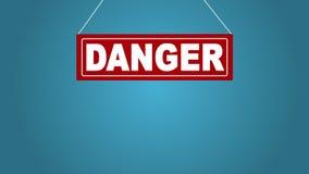 Szyldowa deski kropla od wierzchołka: niebezpieczeństwo Biznesowa animacja Bielu znak na czerwieni Deska przy arkanami niebieska  ilustracji