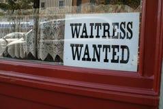 szyldowa kelnerka chcieć okno Fotografia Royalty Free