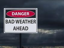 Szyldowa niebezpieczna zła pogoda ahed i ciemne chmury śnieg i deszcz ilustracji
