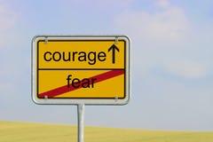 Szyldowa strach odwaga Obrazy Royalty Free