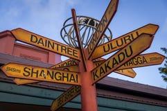 Szyldowej poczta kierunek punkty zwrotni i atrakcje turystyczne w Australia Zdjęcie Stock