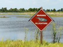 szyldowy aligatora ostrzeżenie Fotografia Royalty Free