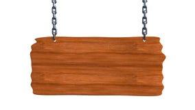 Szyldowy drewniany puste miejsce deski obwieszenie na łańcuchach i przestrzeń dla teksta ilustracji