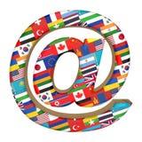 Szyldowy email z flagami państowowymi świat, odizolowywać na bielu 3D unaocznienie, ilustracje ilustracja wektor