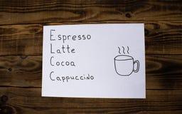 Szyldowy kawy espresso latte kakao cappuccino Obrazy Royalty Free