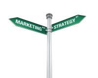 Szyldowy kierunek marketing i strategia Zdjęcie Stock