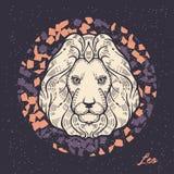 szyldowy Leo zodiak Symbol astrologiczny horoskop royalty ilustracja