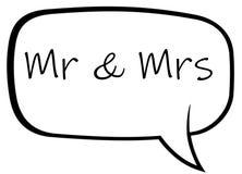 Szyldowy m?wi Mrs i Mr royalty ilustracja