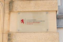 Szyldowy ministerstwo Cudzoziemski - sprawy Luksemburg zdjęcia royalty free