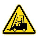 Szyldowy ostrzeżenie dla forklift ciężarówek Zdjęcia Royalty Free