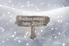 Szyldowy płatka śniegu Frohes Neues Podły Szczęśliwy nowy rok Zdjęcia Stock