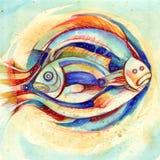 szyldowy Pisces zodiak Obrazy Stock