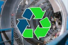 Szyldowy przetwarza odpady Jałowy zakład przetwórczy i jesteśmy rozmyci w tle zdjęcie stock