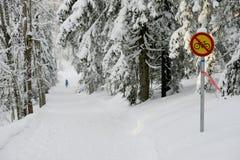 Szyldowy rowerowy ruch drogowy zabrania w zima lesie Fotografia Stock
