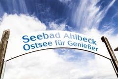Szyldowy Seebad Ahlbeck przy molem Obraz Stock