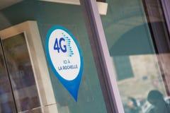 Szyldowy sygnalizujący 4G sieć jest dostępny na sklepie tutaj Zdjęcia Royalty Free