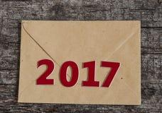 Szyldowy symbol od liczby 2017 na starego retro rocznika stylu drewnianym b Obrazy Stock