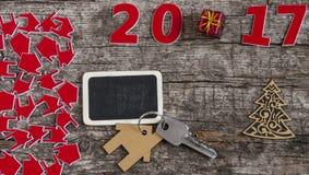 Szyldowy symbol od liczby 2017 na starego retro rocznika stylu drewnianym b Fotografia Royalty Free