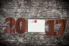 Szyldowy symbol od liczby 2017 na starego retro rocznika stylu drewnianym b Zdjęcie Stock