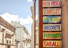 Szyldowy wskazujący typowy Puglia jedzenie (Włochy) zdjęcie royalty free