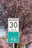 Szyldowy wskazywanie roweru ślad z prędkości ograniczeniem zdjęcie royalty free