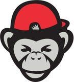 Szympansa baseballa Kierownicza nakrętka Retro ilustracja wektor