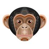 Szympansa Kierowniczy logo Małpi Wektorowy dekoracyjny emblemat ilustracja wektor