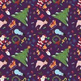 Sömlös pattern_1_for-jul och nya år tema i stylen royaltyfri illustrationer