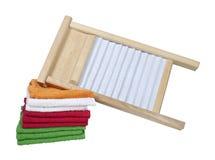 Tábua de lavar e toalhas Foto de Stock Royalty Free