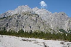 Tálus e árvores no vale de Wimbachtal nos cumes em Alemanha Fotografia de Stock Royalty Free