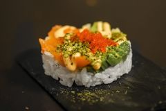 Tártaro japonés del sushi imagen de archivo