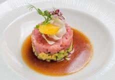Tártaro Salmon, alimento gourmet imagem de stock royalty free